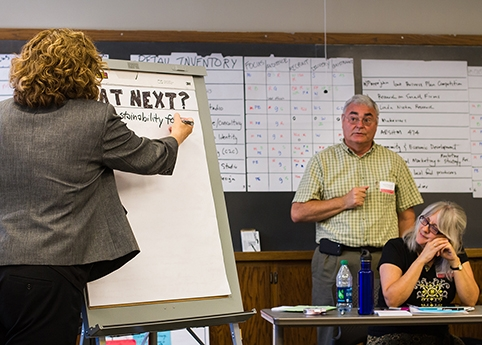 Jane Goeken (left), a field specialist in Extension to Communities, facilitates the Iowa Retail Initiative Summit. Photo by Wyeth Lynch.