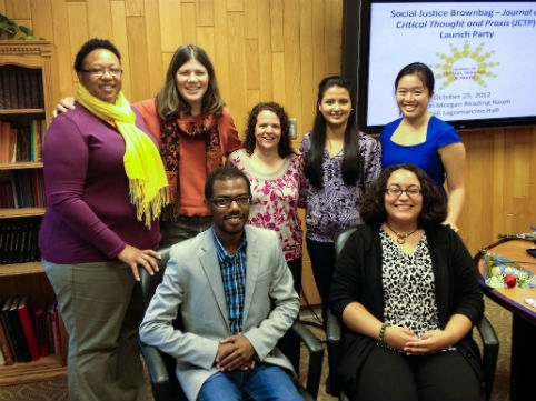 Graduate students in the School of Education who founded the Journal of Critical Thought and Praxis include (front, l-r) Cameron Beatty, Lisette Torres, (back, l-r) Aja Holmes, Jessica Soulis, Kathleen Gillon, Susana Hernandez, and Joyce Lui. Contributed photo.