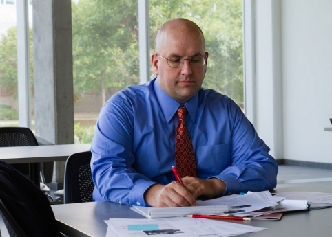Douglas Wieczorek is a new assistant professor in the School of Education who studies how educators navigate education reform and change. Photo by Wyeth Lynch.