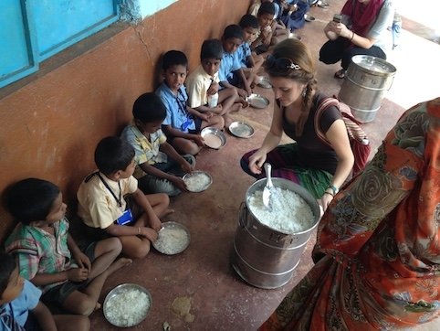 Iowa State University's international dietetics internship program is the largest of its kind in the nation. It's also the only such program geared toward improving nutrition in underserved communities, like this one in India. Contributed photo.